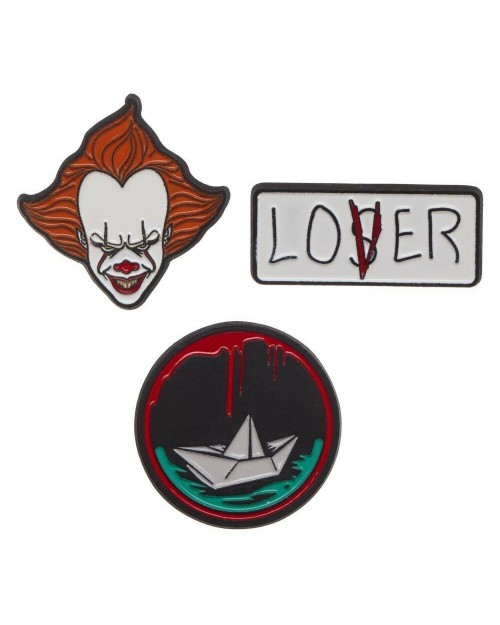 IT LOSERS CLUB PENNYWISE 3 PEICE PIN BADGE SET