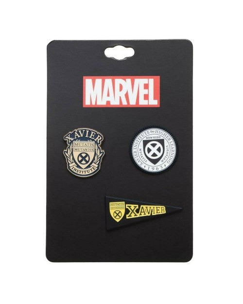 MARVEL COMICS X-MEN XAVIER INSTITUTE FOR HIGHER LEARNING 3 PEICE PIN BADGE SET