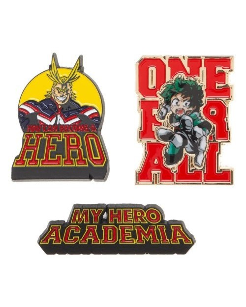 MY HERO ACADEMIA - LOGO, IZUKU AND ALL MIGHT 3 PEICE PIN BADGE SET