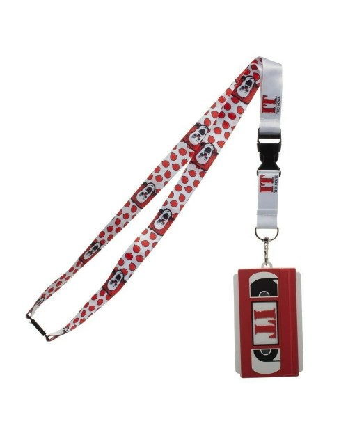 OFFICIAL IT THE MOVIE - VHS TAPE PENNYWISE AND RED BALLOON PRINT WHITE ID SLEEVE LANYARD