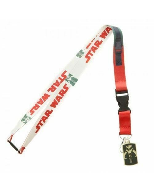 STAR WARS BOBA FETT SYMBOLS MANDALORIAN SUIT UP PRINTED LANYARD
