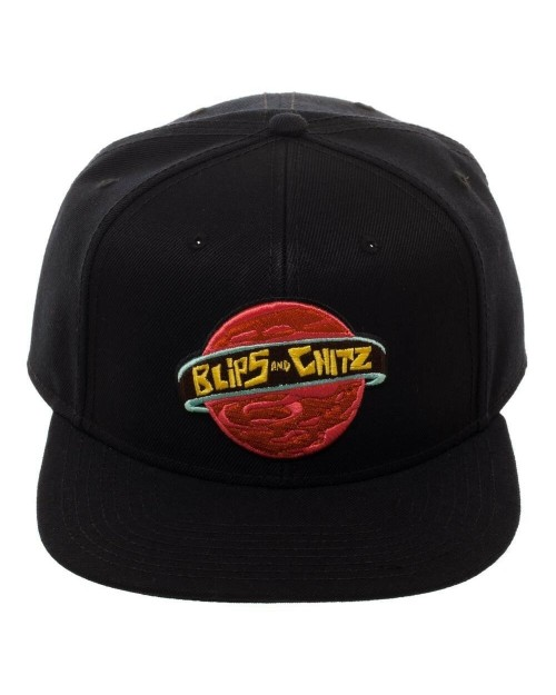 OFFICIAL RICK AND MORTY - BLIPS AND CHITZ LOGO BLACK SNAPBACK CAP