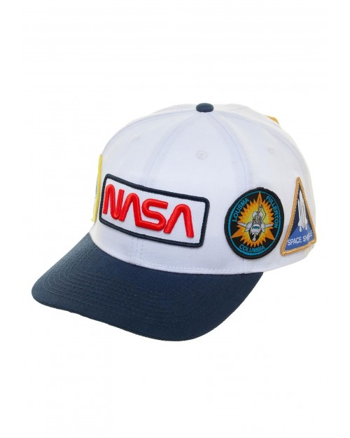 OFFICIAL NASA WORM LOGO AND SYMBOLS WHITE BASEBALL SNAPBACK CAP