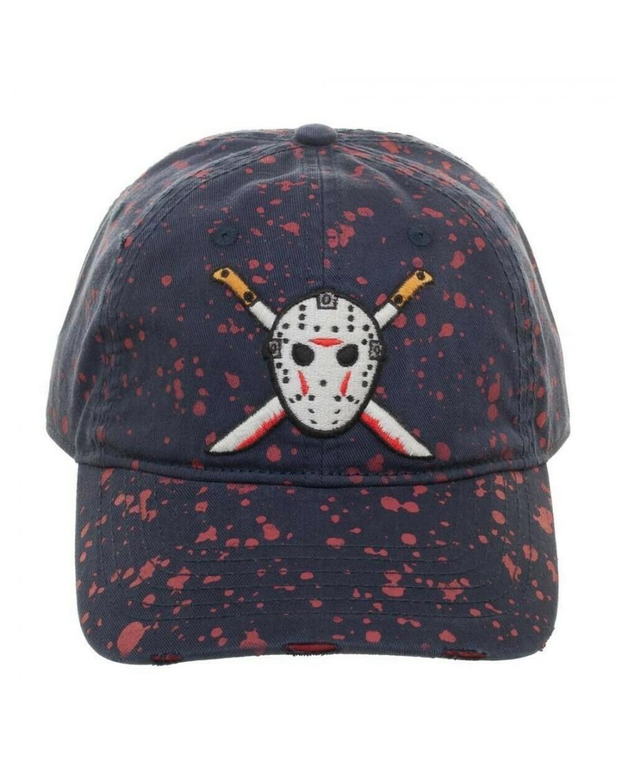 OFFICIAL FRIDAY THE 13TH - JASON VOORHEES HOCKEY MASK MACHETE BLOOD SPLATTERED NAVY BLUE STRAPBACK BASEBALL CAP 'DAD HAT'
