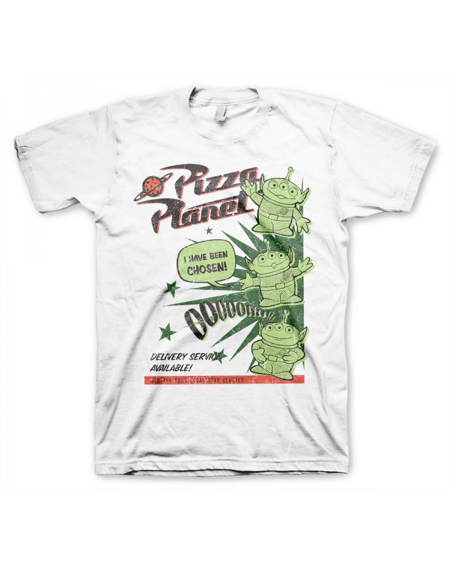 OFFICIAL DISNEY TOY STORY - PIZZA PLANET ALIENS OOOOH! WHITE T-SHIRT