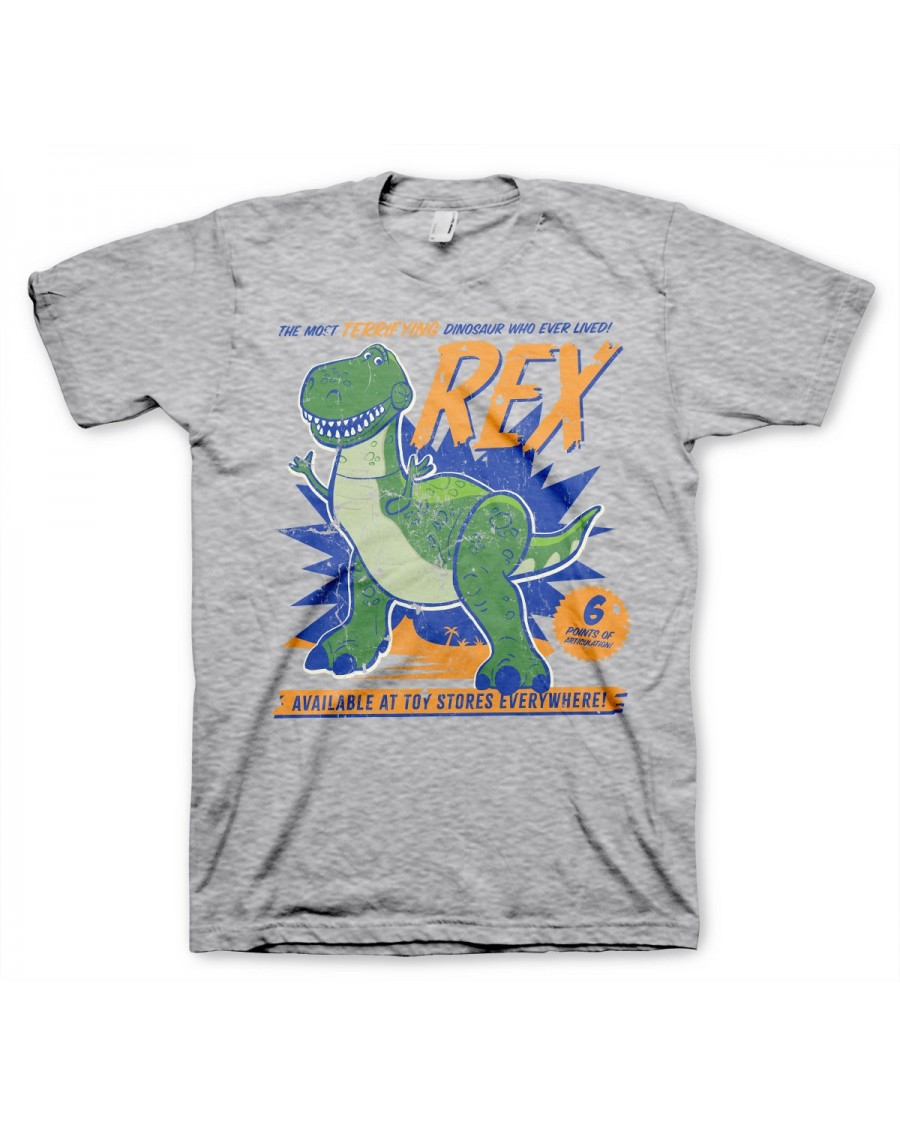 OFFICIAL DISNEY TOY STORY - REX THE MOST TERRIFYING DINOSAUR WHO EVER LIVED GREY T-SHIRT