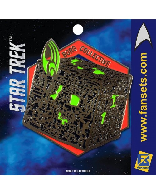 OFFICIAL STAR TREK - BORG CUBE (BORG COLLECTIVE) FANSET METAL PIN BADGE