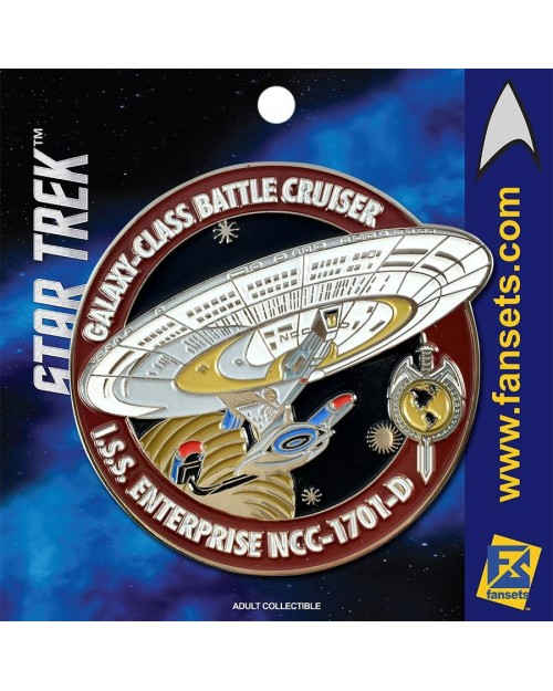 OFFICIAL STAR TREK - I.S.S. ENTERPRISE NCC-1701-D RED FANSET METAL PIN BADGE