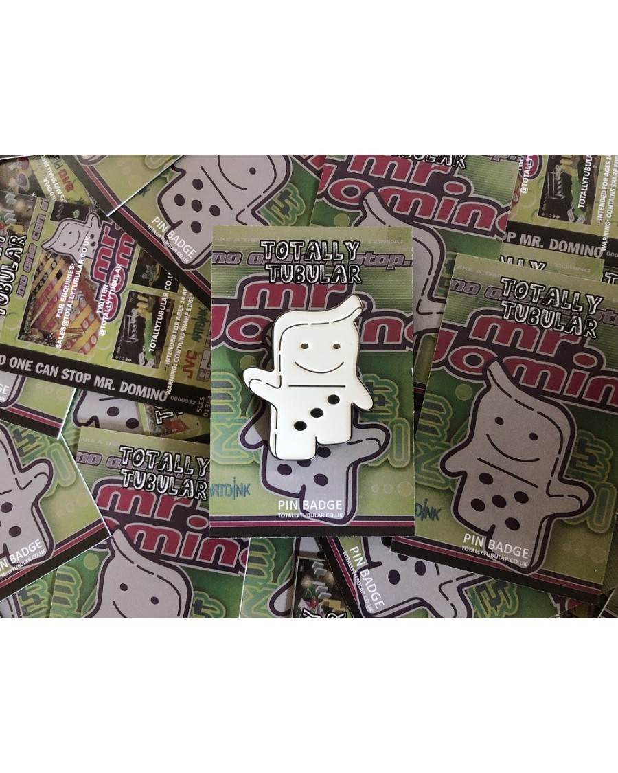 NO ONE CAN STOP MR. DOMINO! ENAMEL METAL PIN BADGE BY TOTALLY TUBULAR