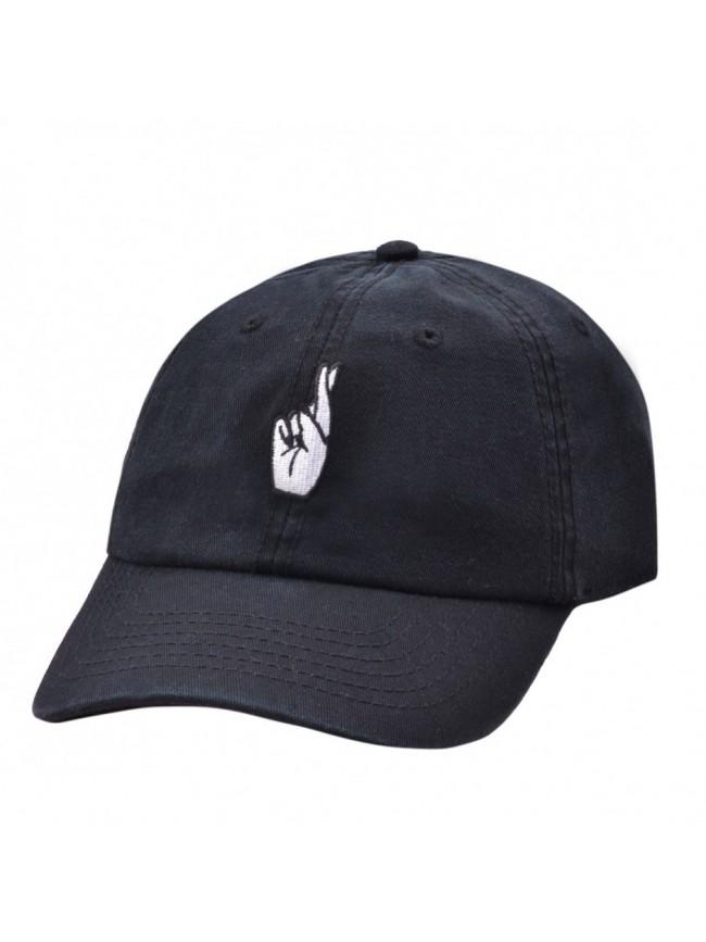 CARBON 212 - FINGERS CROSSED BLACK BASEBALL CAP 'DAD HAT'