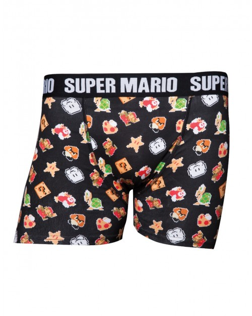OFFICIAL SUPER MARIO BROS SYMBOLS MENS BOXERS (UNDERWEAR)