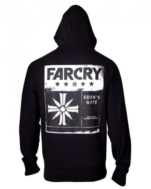 OFFICIAL UBISOFT FAR CRY 5 EDEN'S GATE BLACK BACK PRINT ZIP HOODIE JUMPER