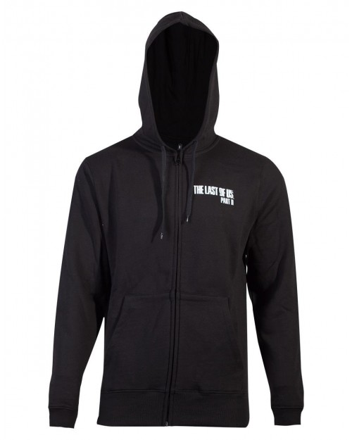 OFFICIAL NAUGHTY DOG - THE LAST OF US PART 2 - FIREFLY LOGO BLACK BACK PRINT ZIP HOODIE JUMPER