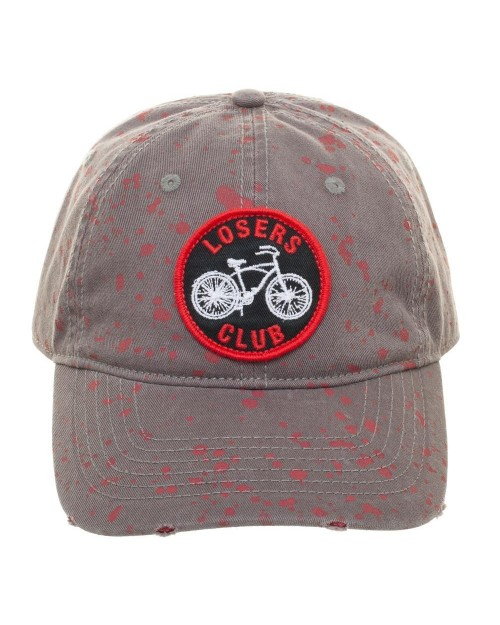 OFFICIAL IT - LOSERS CLUB SYMBOL BLOOD SPLATTERED GREY STRAPBACK BASEBALL CAP 'DAD HAT'
