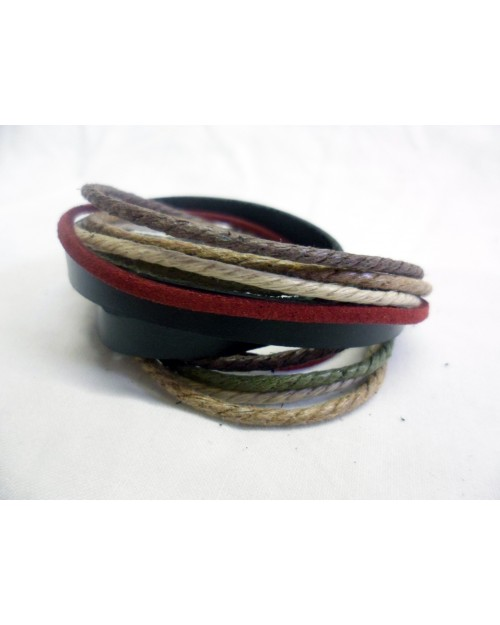 DARK BROWN, ARMY GREY, GREY & LIGHT BROWN ROPE ON BLACK LEATHER CUFF SNAP BRACELETS
