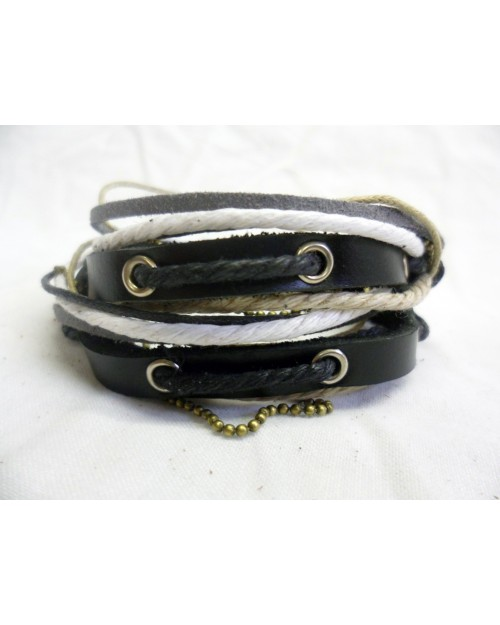 CREAM, WHITE, BLACK & LIGHT BROWN ROPE ON BLACK LEATHER CUFF SNAP BRACELETS