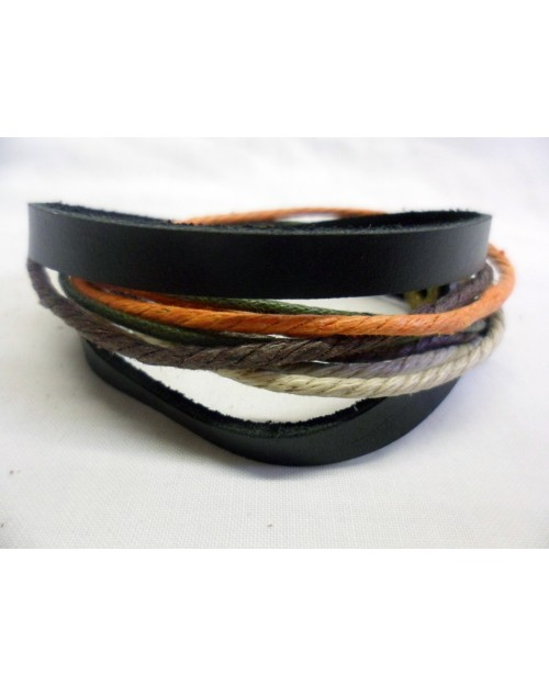 COOL ORANGE & BLACK ROPE & LEATHER POPPER/ CUFF SURFER PUNK BRACELET