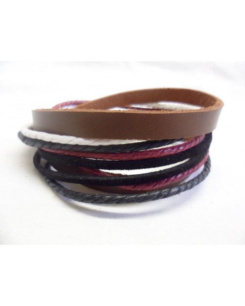COOL RED, BROWN, WHITE ROPE & LEATHER POPPER/ CUFF SURFER PUNK BRACELET