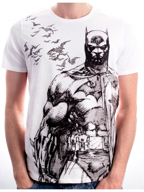 DC COMICS BATMAN & BATS PENCIL DRAWING WHITE T-SHIRT