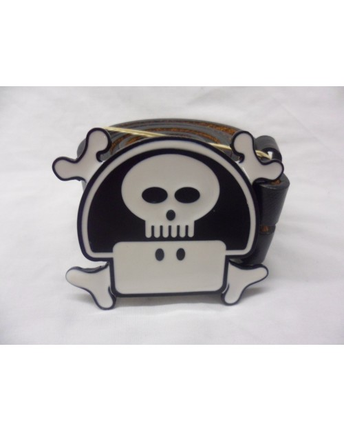 AWESOME BLACK & WHITE MARIO'S MUSHROOM SKULL BUCKLE with BELT