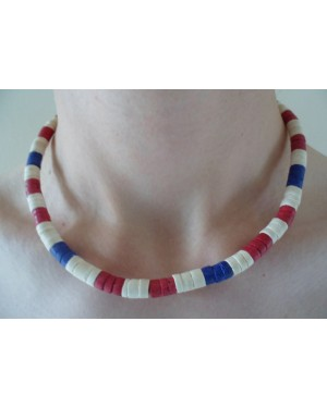 7-8mm COCO HEISHE WHITE, MAROON RED & DARK BLUE NECKLACE