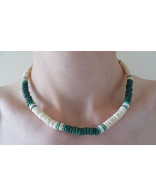 7-8mm POKALET WHITE, DARK GREEN & LIGHT GREEN NECKLACE