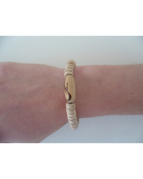 BURNING WOOD. 7-8mm COCO POKALET NATURAL BRACELET