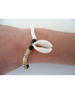 4-5mm ELASTIC COCO NAT WHITE BRACELET WITH DANGLING SIGAY