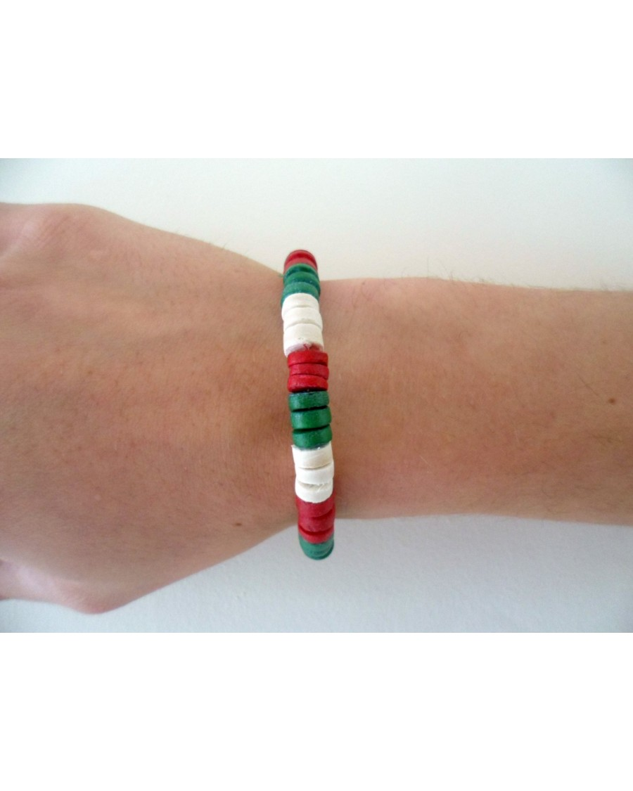 708mm COCO PUKALET ELASTIC BRACELET. [MATTE GREEN, RED & WHITE]