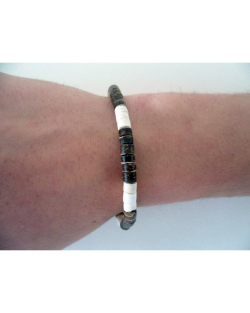 4-5mm COCO HEISHE NAT BROWN & WHITE BRACELET.