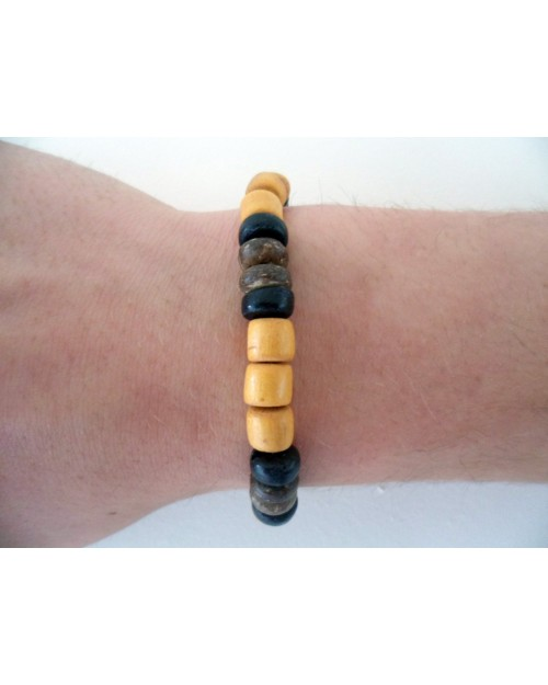 ELASTIC COCO BEAD BRACELET. [BROWN & LIGHT BROWN]
