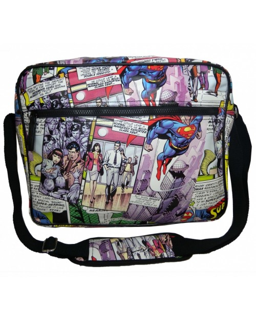 DC COMICS SUPERMAN COMIC TILED PRINT MESSENGER/ SHOULDER BAG