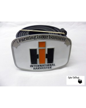 INTERNATIONAL HARVESTER 'FARMING IS OUR BUSINESS' WHITE LOGO BUCKLE with BELT