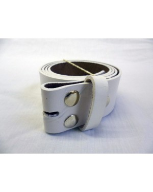 WHITE SPLIT LEATHER SNAP ON BELT. FOR MOST BUCKLES