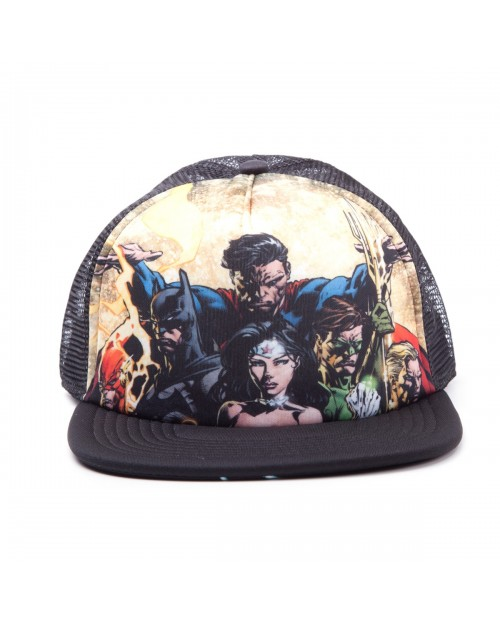 DC COMICS JUSTICE LEAGUE BATMAN/ SUPERMAN/ WONDERWOMAN BLACK TRUCKER SNAPBACK CAP