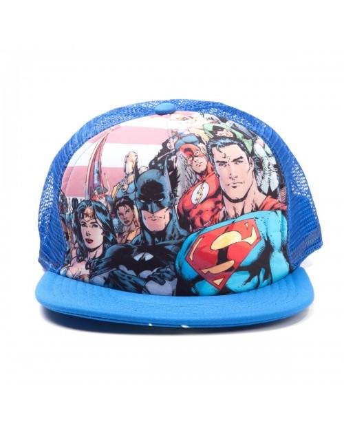 e7b2d70c153 DC COMICS JUSTICE LEAGUE BATMAN  SUPERMAN  WONDERWOMAN BLUE TRUCKER SNAPBACK  CAP