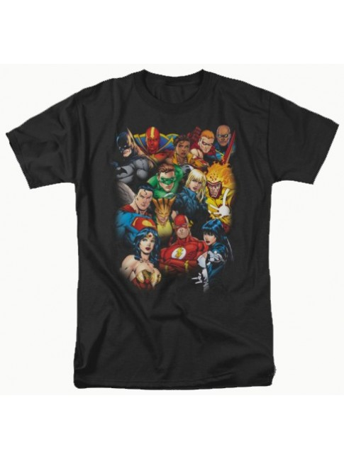 DC COMICS JUSTICE LEAGUE 'ALL HERE' BLACK T-SHIRT INCLUDES BATMAN, SUPERMAN & WONDERWOMAN!