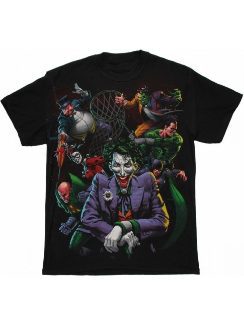 DC COMICS HEROES (BATMAN/ SUPERMAN/ FLASH) VS EVIL (THE JOKER/ RIDDLER/ PENGUIN) BLACK T-SHIRT