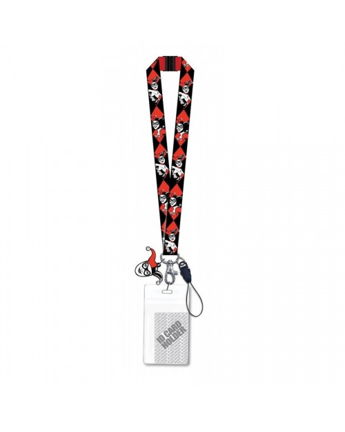 DC COMICS HARLEY QUINN TILED FACE RED LANYARD
