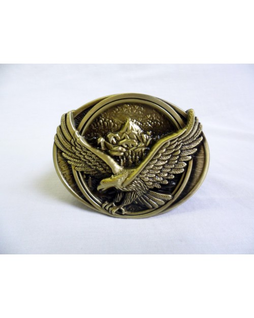 LANDING EAGLE MOUNTAIN LANDSCAPE BRONZE BUCKLE with BELT