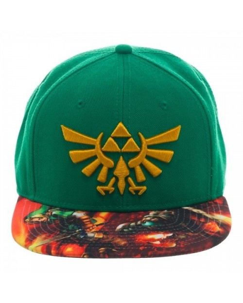 LEGEND OF ZELDA TRIFORCE GREEN SNAPBACK CAP WITH LINK VS GANON PRINTED VISOR