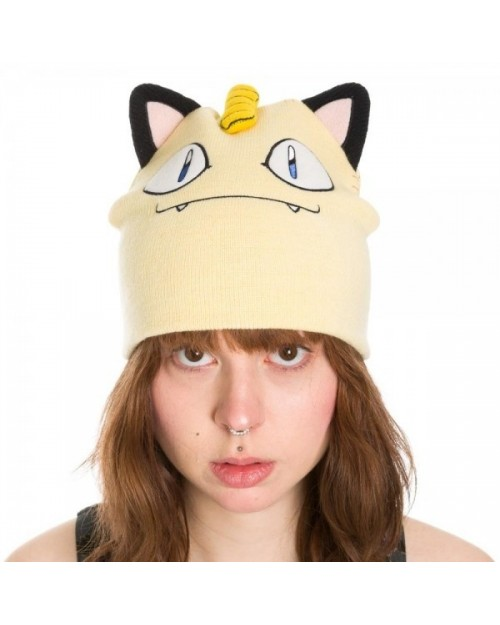 OFFICIAL POKEMON MEOWTH BIG FACE WITH EARS BEANIE