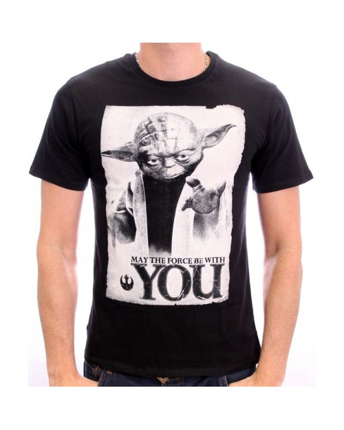 OFFICIAL STAR WARS 'MAY THE FORCE BE WITH YOU' YODA BLACK T-SHIRT