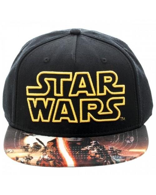 STAR WARS SYMBOL BLACK SNAPBACK CAP WITH THE FORCE AWAKENS PRINTED VISOR