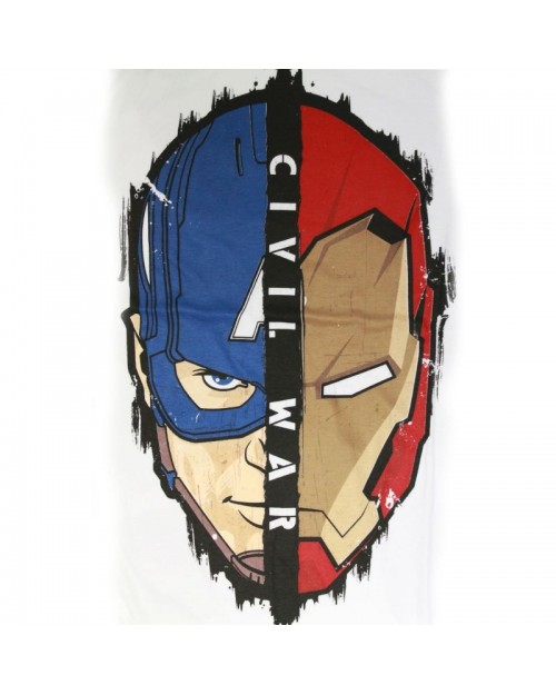 CAPTAIN AMERICA: CIVIL WAR CAP & IRON MAN FACE WHITE T-SHIRT