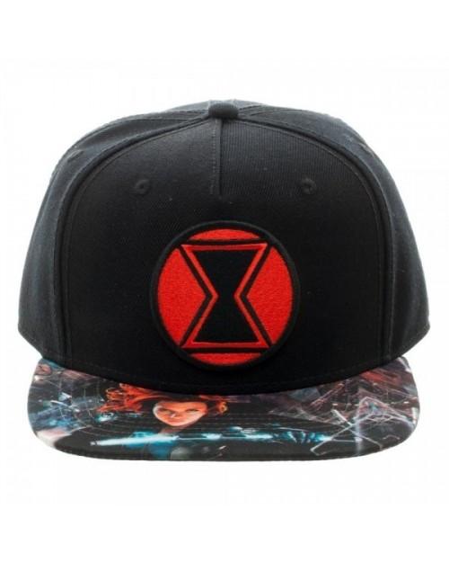 OFFICIAL MARVEL COMICS BLACK WIDOW SYMBOL BLACK SNAPBACK CAP