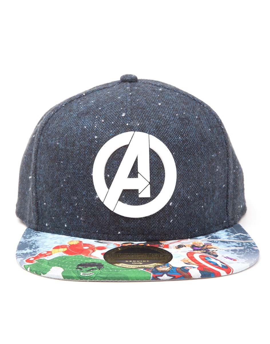 820ad5687b7 OFFICIAL MARVEL COMICS AVENGERS  A  SYMBOL SNAPBACK CAP WITH PRINTED VISOR