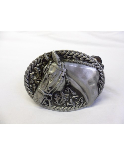 HORSE RODEO STYLED ROPES GREY OVAL BUCKLE with BELT