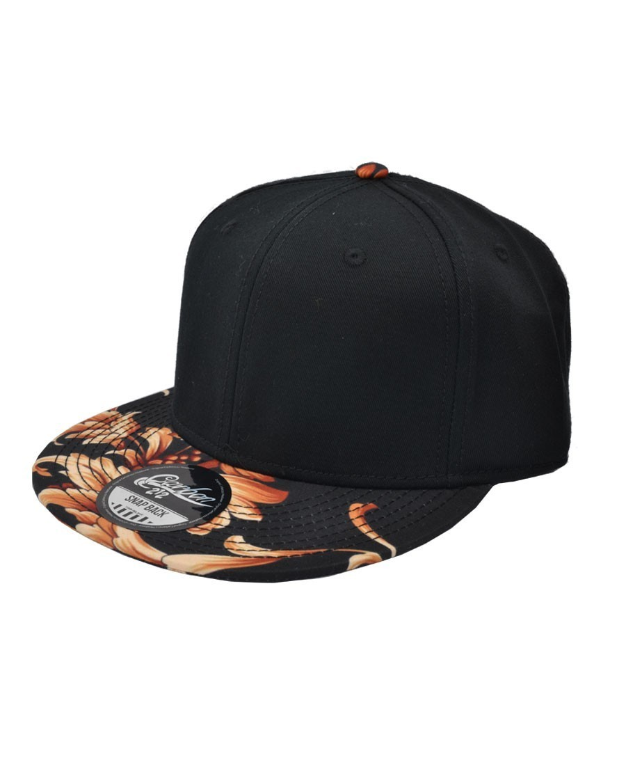 CARBON 212 BLACK SNAPBACK CAP WITH FLORAL PRINTED VISOR