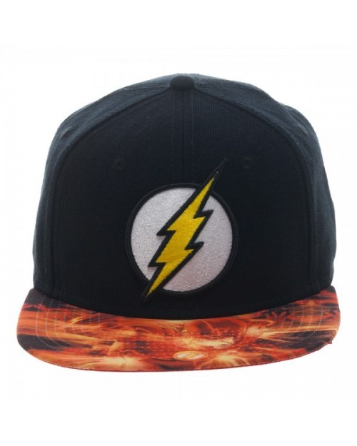 OFFICIAL DC COMICS THE FLASH SYMBOL BLACK SNAPBACK CAP WITH PRINTED VISOR